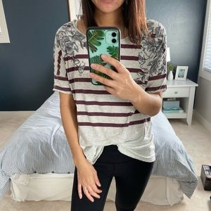 Anthropologie Floral Striped T Shirt
